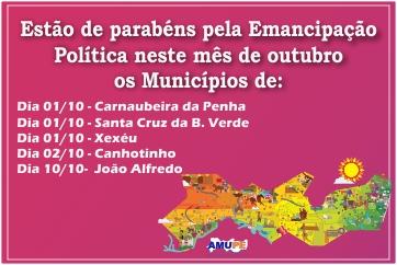 Emancipação Política dos municípios do mês de outubro