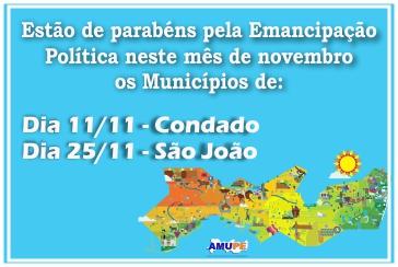 Emancipação Política dos Municípios do Mês de Novembro