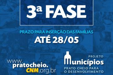 CNM lança 3ª fase do Municípios: Prato Cheio; selecionados têm até dia 28 para confirmar cadastro