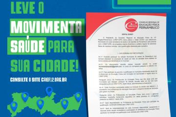 CREF12/PE convoca Profissionais de Educação Física para o Programa Movimenta Saúde